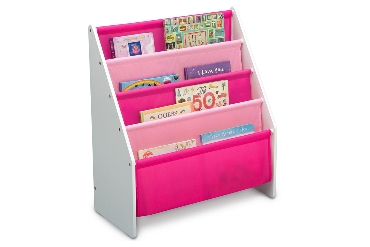 WODENY Kids Sling Bookshelf Children Books Rock Storage Wooden Bookcase for Toddlers Girls Boys Ages 3+ Pink