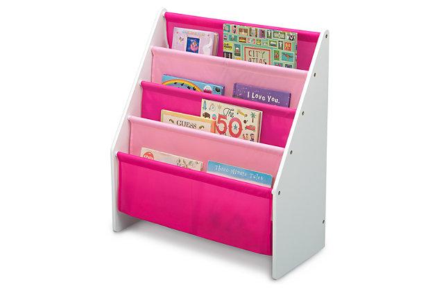 Delta Children Sling Book Rack Bookshelf For Kid, Pink/White, large