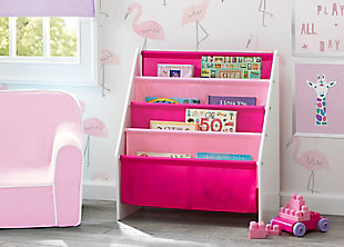 Delta Children Sling Book Rack Bookshelf for Kid, Pink/White, rollover