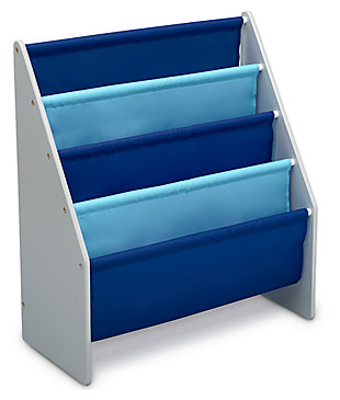 Delta Children Sling Book Rack Bookshelf for Kid, Blue/Gray, large