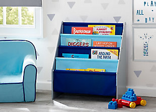 Delta Children Sling Book Rack Bookshelf for Kid, Blue/Gray, rollover