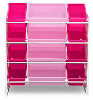 Delta Children Kids 12 Bin Toy Storage Organizer, Pink/White, large