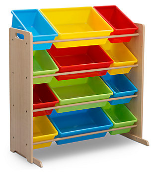 Delta Children Kids 12 Bin Toy Storage Organizer, Multi, large