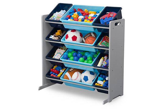 Delta Children Kids 12 Bin Toy Storage Organizer, Blue/Gray, large