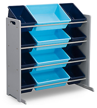 Delta Children Kids 12 Bin Toy Storage Organizer, Blue/Gray, large