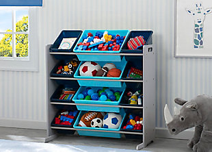 Delta Children Kids 12 Bin Toy Storage Organizer, Blue/Gray, rollover