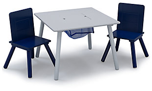 Delta Children Kids Table and Chair Bundle with Storage, Blue/Gray, large