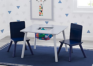 Delta Children Kids Table and Chair Bundle with Storage, Blue/Gray, rollover