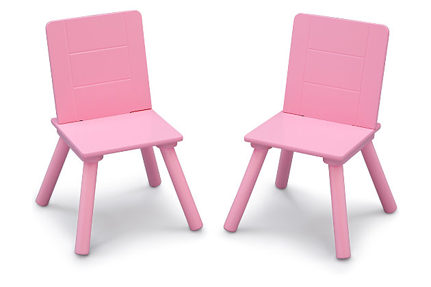 Delta Children Kids Table And Chair Bundle With Storage, Pink/White, large