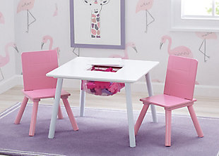 Delta Children Kids Table And Chair Bundle With Storage, Pink/White, rollover