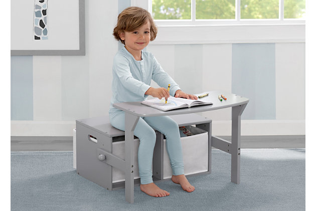 Delta Children MySize Kids Activity Bench, Gray, large