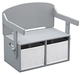 Delta Children MySize Kids Activity Bench, Gray, large