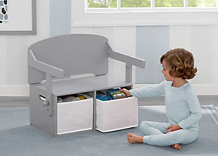 Delta Children MySize Kids Activity Bench, Gray, rollover