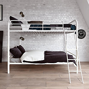 Kids Twin over Twin Metal Bunk Bed, White, rollover
