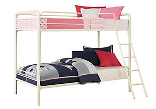Kids Twin over Twin Metal Bunk Bed, White, large