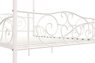 Kids Metal Canopy Full Bed, White, large