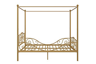 Kids Metal Canopy Full Bed, Gold Finish, large
