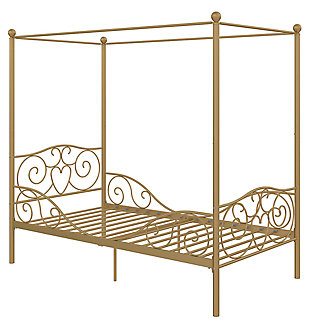 Kids Metal Canopy Twin Bed, Gold Finish, rollover