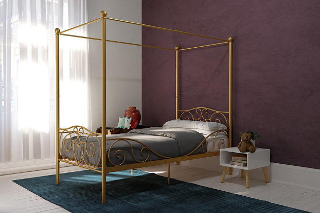 Kids Metal Canopy Twin Bed, Gold Finish, large