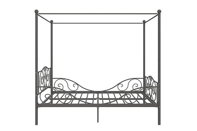 Kids Metal Canopy Full Bed, Pewter Finish, large