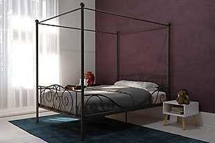 Kids Metal Canopy Full Bed, Pewter Finish, rollover