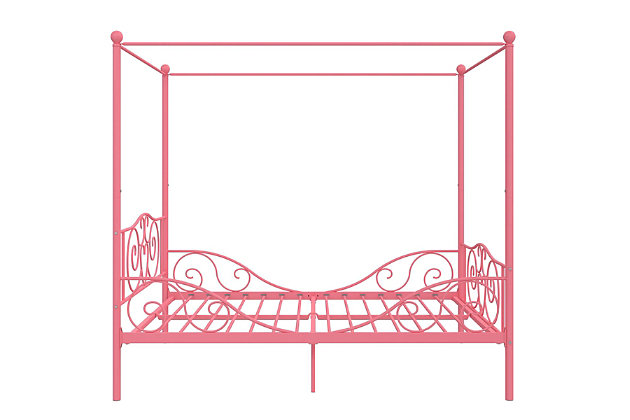 Kids Metal Canopy Full Bed, Pink, large