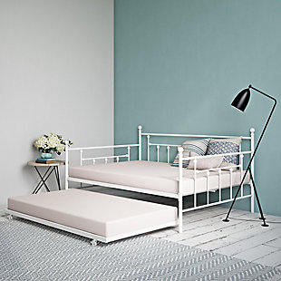 Kids Full Size Daybed with Twin Size Trundle, White, large