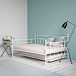 Kids Full Size Daybed with Twin Size Trundle, White, rollover