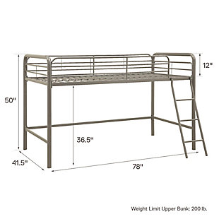 Kids Junior Twin Metal Loft Bed, Silver Finish, large