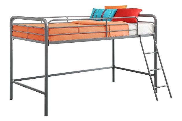 Kids Junior Twin Metal Loft Bed, Silver Finish, large