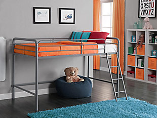 Kids Junior Twin Metal Loft Bed, Silver Finish, rollover