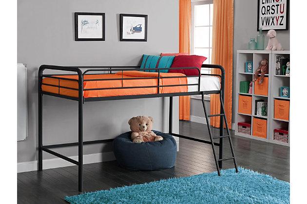 Kids Junior Twin Metal Loft Bed, Black, large