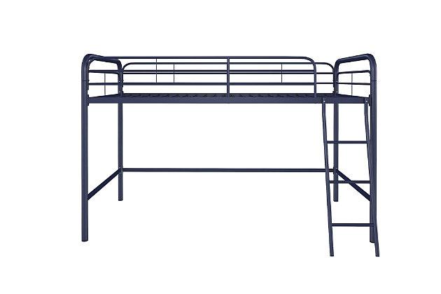 Kids Junior Twin Metal Loft Bed, Navy, large
