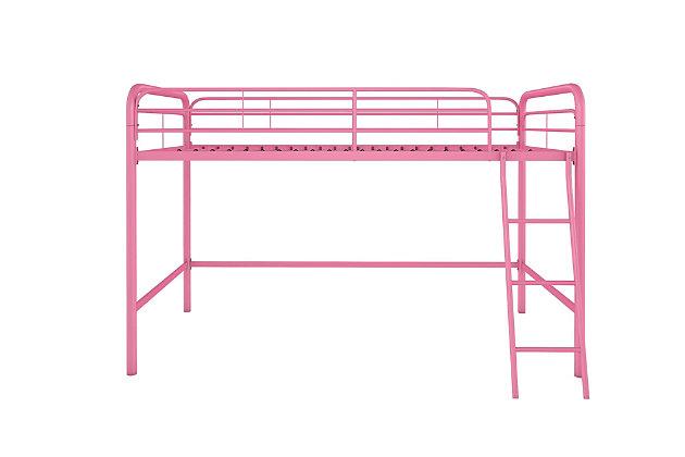 Kids Junior Twin Metal Loft Bed, Pink, large