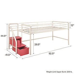 Kids Junior Twin Loft Bed with Storage Steps, White, large