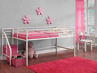 Kids Junior Twin Loft Bed with Storage Steps, White, rollover