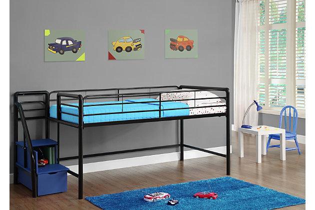 Kids Junior Twin Loft Bed with Storage Steps, Black, large