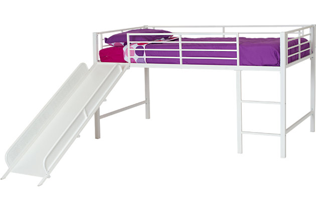 Kids Junior Twin Loft Bed with Slide, White, large
