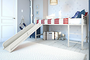 Kids Junior Twin Loft Bed with Slide, White, rollover