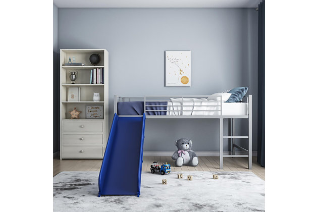 Kids Junior Twin Loft Bed with Slide, Blue/Silver Finish, large