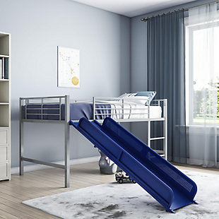 Kids Junior Twin Loft Bed with Slide, Blue/Silver Finish, rollover