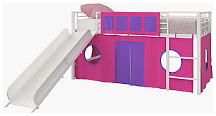 Kids Junior Twin Loft Bed with Storage Steps and Pink House Curtain Set, , large