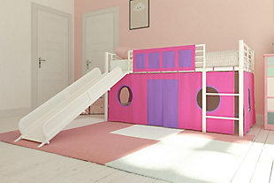 Kids Junior Twin Loft Bed with Storage Steps and Pink House Curtain Set, , rollover