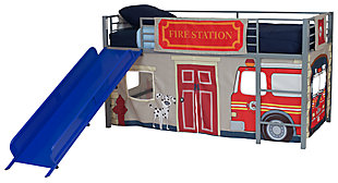 Kids Junior Twin Loft Bed with Slide and Fire Department Curtain Set, , rollover