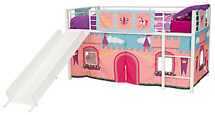 Kids Junior Twin Loft Bed with Storage Steps and Princess Castle Curtain Set, , large