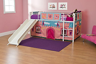 Kids Junior Twin Loft Bed with Storage Steps and Princess Castle Curtain Set, , rollover