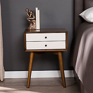 Two Tone Nightstand with Tapered Legs, , rollover
