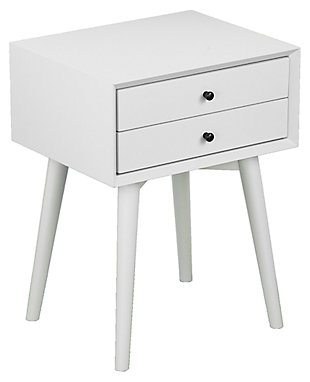 Two Drawer Nightstand with Tapered Legs, , large