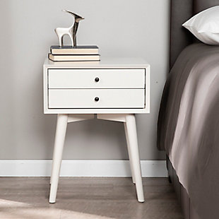 Two Drawer Nightstand with Tapered Legs, , rollover
