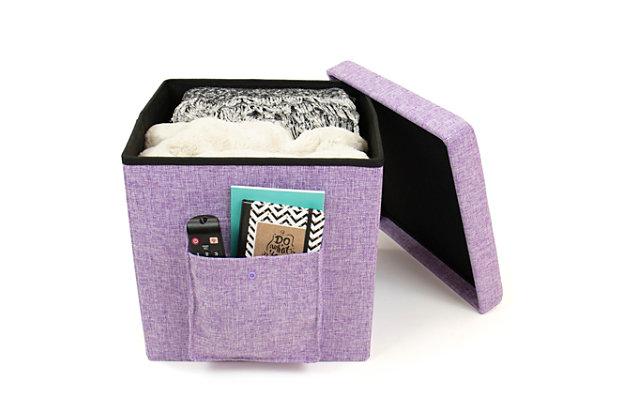 Kids Folding Storage Cube with Exterior Multi Purpose Pocket, , large